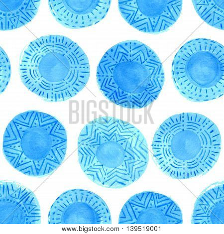 Watercolor blue circles pattern on white background. Hand painted tribal design with different ornaments. Bright blue ornate ethnic seamless texture.Hand painted cerulean rustic elements. Mixed media.