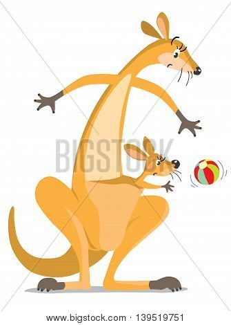 Childrens vector illustration of funny wondering or surprised kangaroo looking down on colorful ball, and kangaroo baby in the pouch.