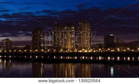 Night picture of Zagreb taken during high level of Sava river