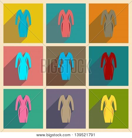 Concept of flat icons with long shadow  elegant dress