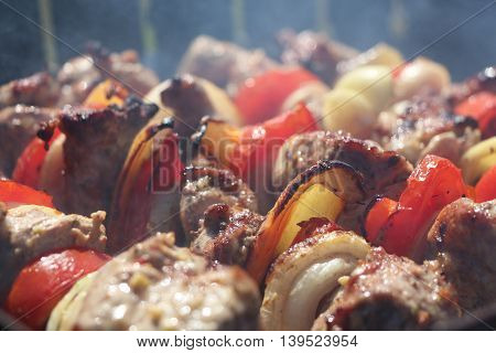 Meat and vegetables tomato, bow, pepper, grilled on charcoal on a background of a smoke, close-up