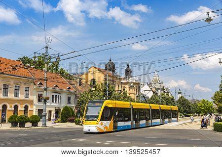 Modern Tramway On The Street Of Debrecen