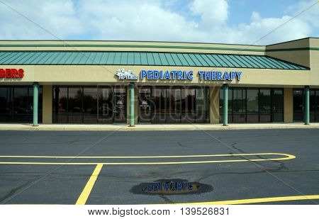 SHOREWOOD, ILLINOIS / UNITED STATES - AUGUST 30, 2015: Hillmann Pediatric Therapy (HPT)  provides physical, occupational and speech therapy for children through age 21 years.