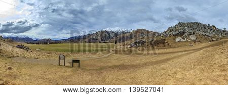 beautiful landscape panorama view of castle hill in arthur's pass national park new zealand important traveling destination