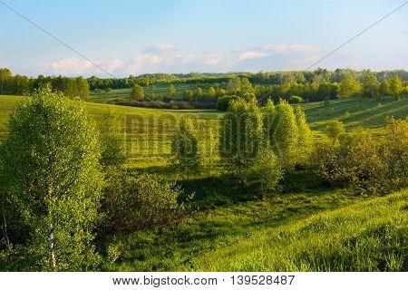 Beautiful hills landscape. Hillside landscape. Rolling hills. Hills and sky. Beautiful landscape.