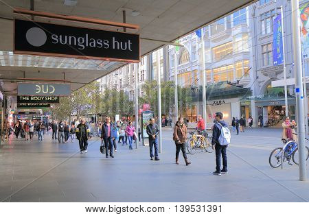 MELBOURNE AUSTRALIA - JULY 16, 2016: Unidentified people shop on Bourke street in downtown Melbourne.