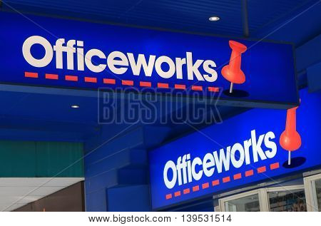 MELBOURNE AUSTRALIA - JULY 16, 2016: Officeworks stationery store. Officeworks is a chain of Australian office supplies stores in Australia and the market leader.