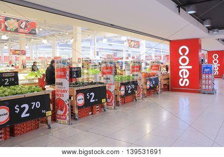 MELBOURNE AUSTRALIA - JULY 17,2016:  Unidentified people shop at Coles Supermarket. Coles, is an Australian supermarket chain owned byWesfarmers founded in 1914.