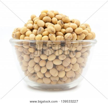 Dried Soybean On Glass Cup Isolated