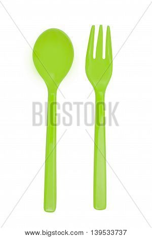 Green Plastic  Fork And Spoon