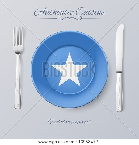 Authentic Cuisine of Somalia. Plate with Somalian Flag and Cutlery