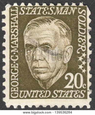MOSCOW RUSSIA - JANUARY 2016: a post stamp printed in the USA shows a portrait of George Catlett Marshall Jr. the series