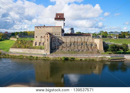The old Herman's castle closeup, sunny september day. Narva, Estonia