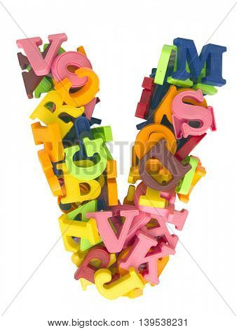 the letter  V made from a lot of Magnetic letters