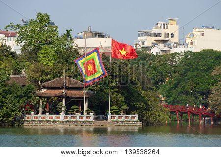 HANOI, VIETNAM - JANUARY 10, 2016: Ancient Temple on the lake Hoakim, sunny day. Historical landmark of the city Hanoi, Vietnam