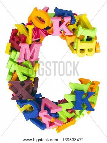 the letter  C made from magnetic letters