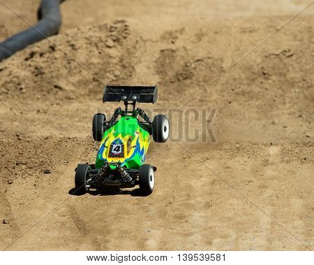 BOISE IDAHO-JULY 16 2016: Rc car maks a good landing during the Boise Summer Blast Points race.