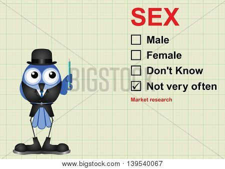 Sex market research questionnaire on graph paper background with copy space for own text