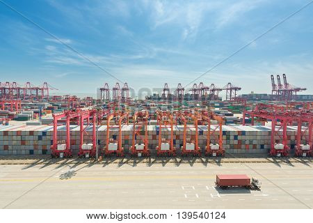 Import Export Logistics concept - Shanghai yangshan deepwater container cargo terminalone of the busiest Import Export Logistics ports in the world in Shanghai China.