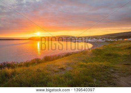Sunset View Of Husavik