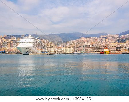 High dynamic range HDR View of the city of Genoa from the sea poster