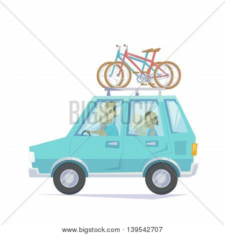 Car with bicycle mounted to the roof rack. Happy parents and children riding in a car with bike. Bicycle family road trip weekend getawey jorney in bike park. Family car vacatoin with bike