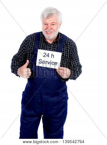 Sming senior craftsman showing 24 h sign