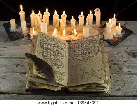Open grimoire book with candles on the wooden table, Halloween still life