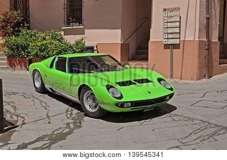 BRISIGHELLA RA ITALY - JULY 17: vintage sports car Lamborghini Miura of the sixties in rally