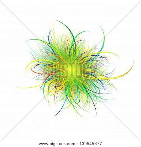 3D rendering colorful fractal abstract in white background.