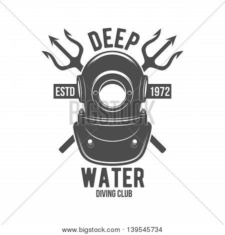Scuba diving label. Underwater swimming logo. Sea dive, spearfishing, vector illustration. Diving emblems and designed elements