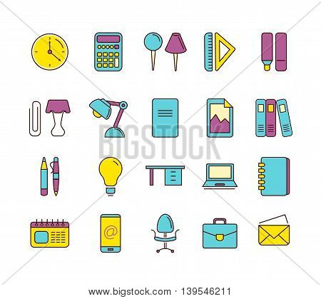 vector Conceptual icons set with stationery elements isolate on white background. Illustrtations in linear stile poster