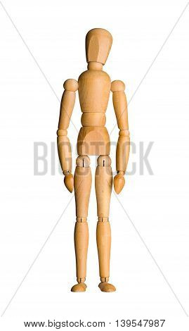 Wooden mannequin, standing doll. Isolated on white