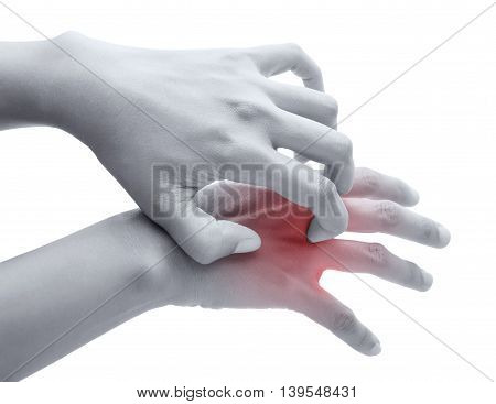 Scratch the itch with hand Arm itching Concept with Healthcare And Medicine.
