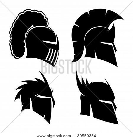 Vector set of signs knight's and Spartan helmets.