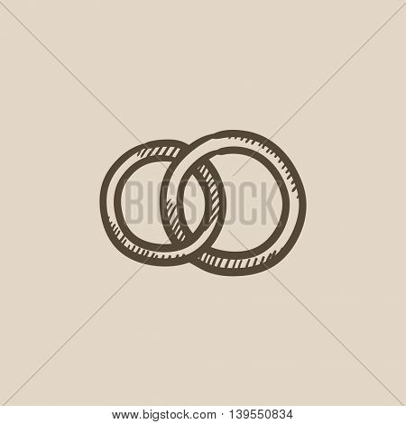 Wedding rings vector sketch icon isolated on background. Hand drawn Wedding rings icon. Wedding rings sketch icon for infographic, website or app.