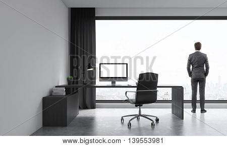 Businessman in suit looking at city from window of his office. Modern working place. Concept of thought. 3D render. Mock up