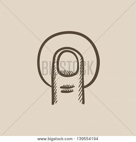 Tap touch screen gesture vector sketch icon isolated on background. Hand drawn tap touch screen gesture icon. Tap touch screen gesture sketch icon for infographic, website or app.