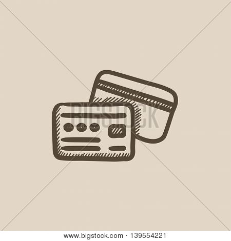 Credit card vector sketch icon isolated on background. Hand drawn Credit card icon. Credit card sketch icon for infographic, website or app.