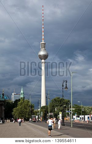 Berlin Germany - June 30 2016: View of the Berlin TV Tower it's the television tower in central Berlin constructed 1965-1969 height of 368 meters. It is the tallest structure in Germany and modelled on the Eifeltower in Paris.