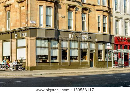 GLASGOW SCOTLAND - JULY 21 2016: Ox and Finch Glasgow in Sauchiehall Street in the west-end of Glasgow.