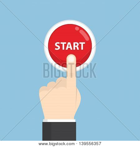 Businessman Hand Pressing Start Button