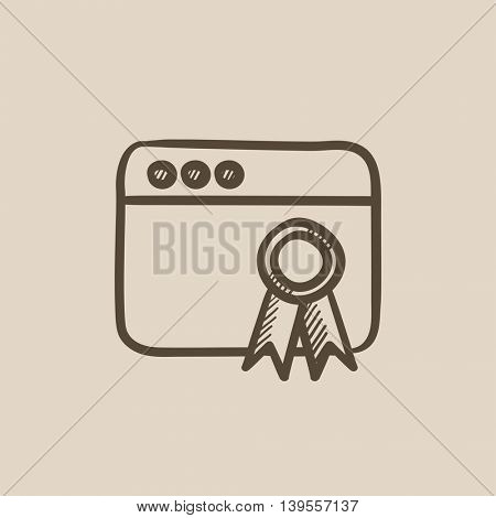 Browser window with winners rosette vector sketch icon isolated on background. Hand drawn Browser window with winners rosette icon. Browser window sketch icon for infographic, website or app.