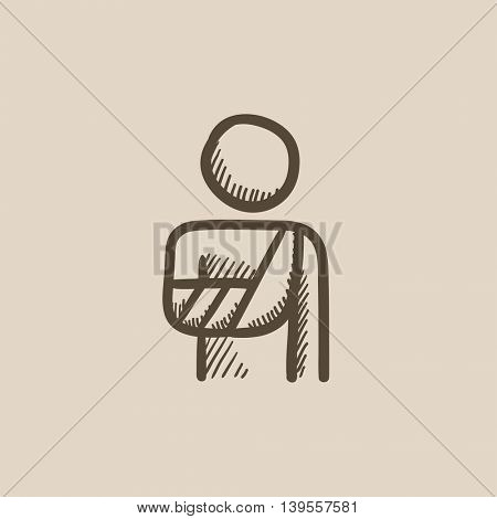 Injured man vector sketch icon isolated on background. Hand drawn Injured man icon. Injured man sketch icon for infographic, website or app.