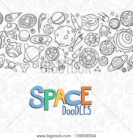 hand drawn doodles of planets ans space objects