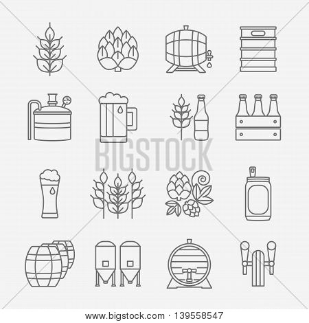 Big set of modern thin line icons of brewery icons and different beer symbols for pub bar or other brewing related business isolated on background. Vector illustration. Octoberfest icon series.
