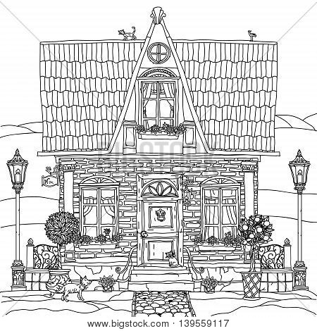frontage of a house with flowers, plants, cat and dog for adult coloring book or for zen art therapy anti stress drawing. Hand-drawn, vector, very detailed, for coloring book, poster design, contoured