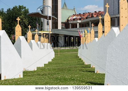 CRACOW POLAND - JULY 22 2016: Zones of Reconciliation at the Sanctuary of Divine Mercy in Lagiewniki . WYD participants will be able to confess to more than 50 additional confessionals. Cracow. Poland