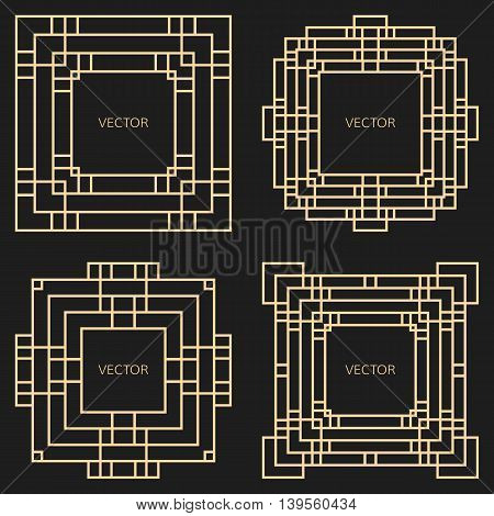 Set of 4 geometric frames in Art Deco style. Square vector abstract elements for design. Art Deco frames. Light golden vector frames. Premium vector frames in luxury style.