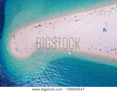 Aerial view Zlatni rat beach in Bol, Island Brac, Croatia